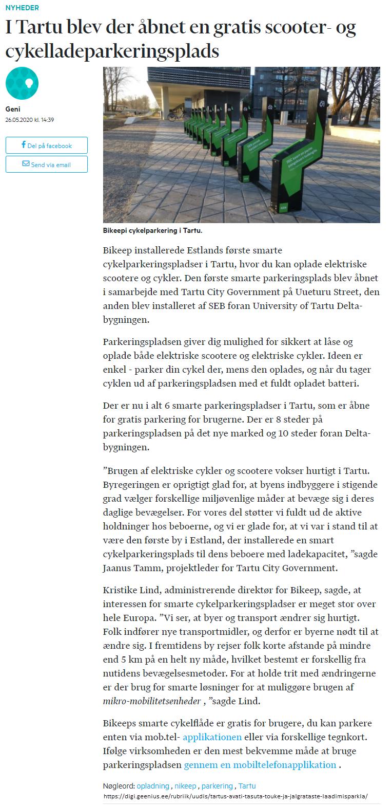 I Tartu blev der åbnet en gratis elløbehjul og cykelladeparkeringsplads
