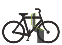 Cykel låst i Bikeep dock