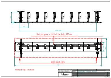Linje layout med dækpladeng af 10 cykler