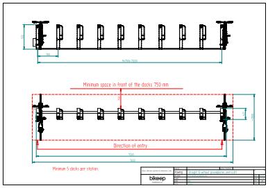 Linje layout til sikker parkering af 10 cykler