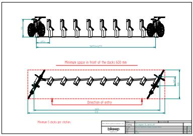Skråtstillet layout til sikker parkering af 10 cykler