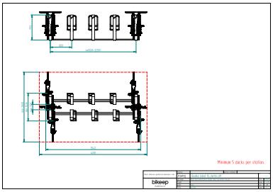 Dobbelt sidet layout til sikker parkering af 10 cykler