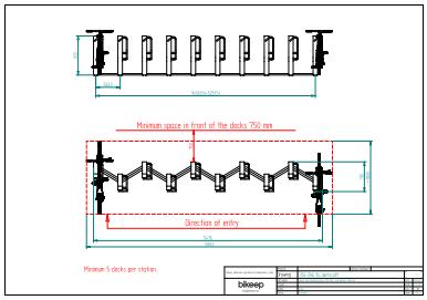 Zig-zag layout til sikker parkering af 10 cykler