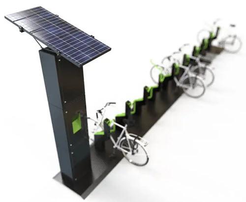 Grøn cykelparkering drevet af solcelle strøm